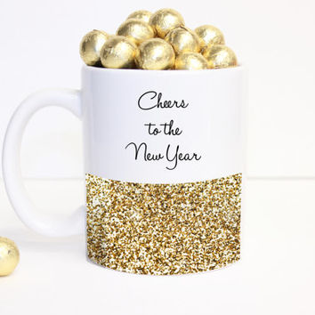 "glitter ""Cheers to the New Year"" Coffee Mug - Tea cup - Holiday Mug - cute gift - Christmas Present - holiday decor - Kate Spade Inspired"