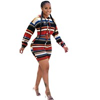 Women Multi-Color Striped Two Piece Fashion Long Sleeve Hooded Crop Top Short Set