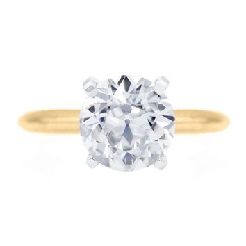 Old European Cut (OEC) Round Moissanite 14K or 18K Two-Tone Yellow Gold Band and White Gold 4 Prongs Solitaire Ring