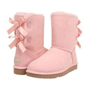 UGG Fashion Women Bow Flats Leather Boots In Tube Boots Shoes