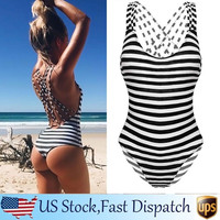 Sexy Women's Swimwear One Piece Swimsuit Monokini Padded Bikini Retro Striped FT