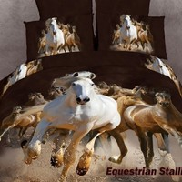 Equestrian Stallions - Horse Lovers - 6 Pc. King Duvet Cover Bedding Set (1 Duvet Cover, 1 Fitted Bed Sheet, 2 Shams, 2 Pillow Cases) - Includes a Gift Box and Gift Bag - SAVE BIG ON BUNDLING!