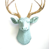 Faux Taxidermy Deer Head Deerman the Deer Head wall hanging wall mount in gray-green with gold antlers