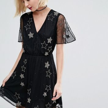 River Island Star Embellished Tea Dress at asos.com