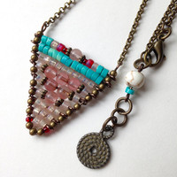 Chevron Necklace, Handcrafted Pendant with Turquoise, Garnets and Rose Quartz Beads featuring a Brass Chain. Boho Chic Style