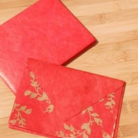 Red & Gold Lokta Note Cards