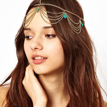 Turquoise Multilayer Tassel Headdress
