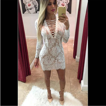 White V-Neck Long Sleeve Lace Dress