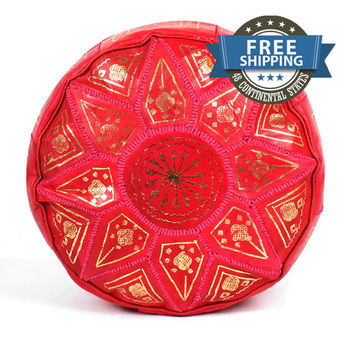 NEW! Red Leather Moroccan Ottoman,Red Moroccan Pouffe,Red Moroccan Pouf,Red Moroccan Footstool,Red Pouf,Red Pouffe,Red Ottoman,Red Footstool