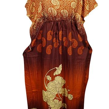 Mogul Womens Maxi Caftan Orange Printed Cotton Kimono Sleeves Kaftan House Dress