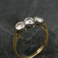 Classic Yellow Gold Three Stone Diamond Ring by Ruby Gray's | Ruby Gray's Antique & Vintage Rings