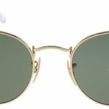 Gotopfashion Ray-Ban RB3447 001 Rounnd Arista Sunglasses Gold Frame / Crystal Green Lens 50mm