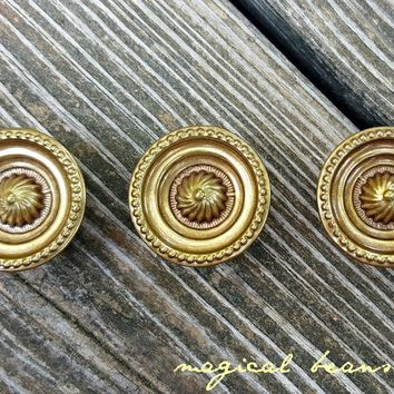 Gold Cabinet Knobs Vintage Drawer Knob Keeler Brass Drawer Knob Gold - Bronze Multi Ring Drawer Knob Rustic Farmhouse Dresser Hardware