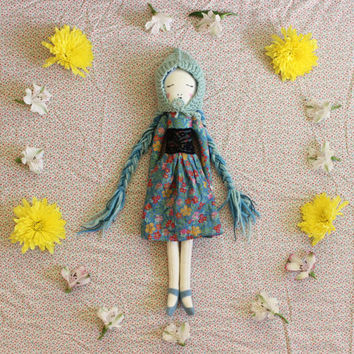 Heirloom Doll Pixie Girl with Skirt, Shoes and Hand Knit Soft Wool Hat - Handmade Embroidered Cloth Art Doll by Liberty Lavender Dolls