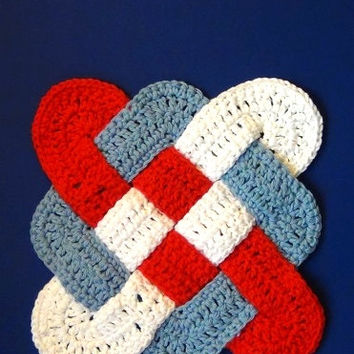 Hot Pad  / Trivet - Patriotic Red, White, and Blue - Celtic Knot Design