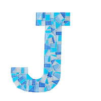 Blue Mosaic Letter J - Perfect for Nursery