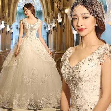2016 Luxury Princess Ball Gown Wedding Dress Country Style Cheap Under 200 V Neck Cap Sleeve Crystals Sparkly Wedding Gowns Plus