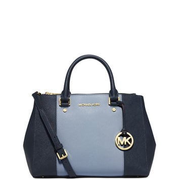 Sutton Medium Saffiano Satchel Bag, Navy/Pale Blue - MICHAEL Michael Kors