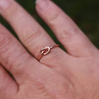 Rose Gold Knot Ring, Rose Gold Love Knot Ring Bridesmaid Friendship Ring Celtic knot