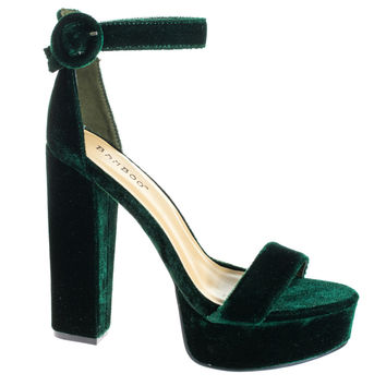 #Tournament06M Green by Bamboo, Green Velvet 70's Retro Block Heel Platform Dress Sandal