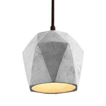 Spacecraft Modern Concrete Pendant Light, Vintage Industrial Cement Hanging Ceiling Chandelier Lamp (White)