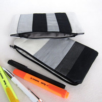 Pouch to choose School fabric kit gray black white pouch fabric zipped wallet back to school case pencil cloth case school fabric kit