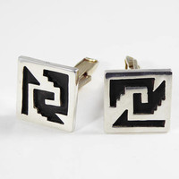 Sterliing Silver Cuff Links, with Black in the Abstract Cut Outs, Vintage 1980's Square Cufflinks, Modernist Mens Jewelry and Accessory