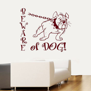 Wall Decals  Animals BEWARE of DOG Sign Dog Pet Dogs Bulldog Vinyl Decal Sticker Home Decor Design for Dog House Any Room Murals ML162