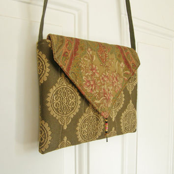 Small Cross Body Purse - Olive Green Shabby Chic