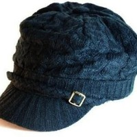 Amazon.com: Black Knitted Newsboy Cab Driver Hat with side buckle: Clothing