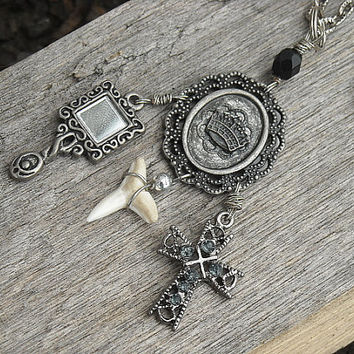 Charm Necklace Cross Necklace Shark Tooth by InkandRoses13 on Etsy