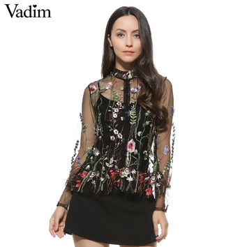 Women sweet flower embroidery mesh shirts sexy transparent long sleeve blouse