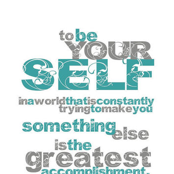 TO BE YOURSELF Art Print Turquoise and Gray by BubbyAndBean