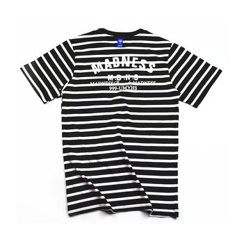 With Pocket Short Sleeve Stripes Summer Cotton T-shirts [10176388551]