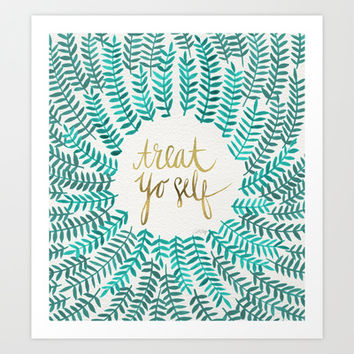Treat Yo Self – Gold & Turquoise Art Print by Cat Coquillette