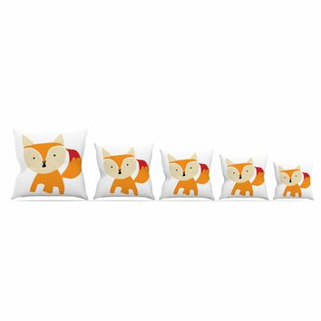 "bruxamagica ""Cute Fox"" Orange White Animals Kids Illustration Throw Pillow"