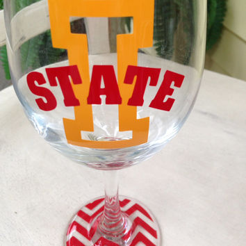 Iowa State inspired wine glass college graduation gift  wine glasses with chevron bottoms