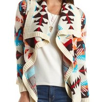 Aztec Print Cascade Cardigan by Charlotte Russe - Ivory Combo