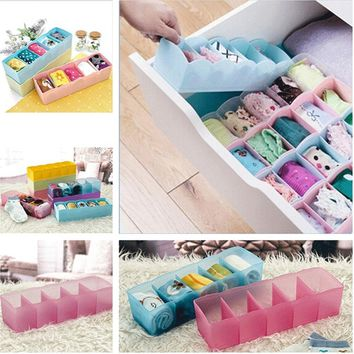 5 Cell Plastic Closet Underwear Bras Sock Ties Organizer Storage Box Desk Drawer Closet