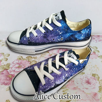 Converse Galaxy Low waist Shoes-Hand Paint Converse Sneakers, Custom Converse,Special Christmas Gift,Birthday gift,Can also custom for kid