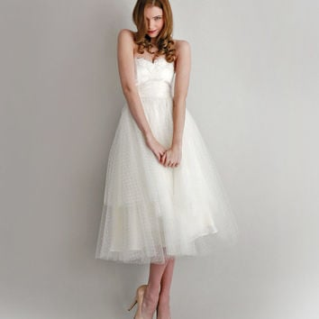 Swiss Dot Tea Length Wedding Dress--Silvie