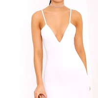 Hattie White Strappy Curve Hem Bodycon Dress