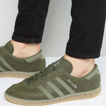 adidas Originals Hamburg Sneakers In Khaki BB4993 at asos.com