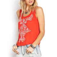 Embroidered Split-Back Top