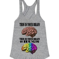 Your Brain on Hugs-Unisex Athletic Grey T-Shirt
