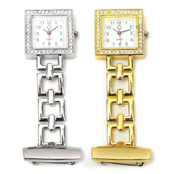 Stainless Steel Metal Gold Silver Colors Backlight Light Doctor Nurses Fob Quartz Watch