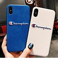 Champion New fashion embroidery letter couple leather protective cover phone case