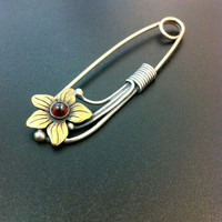 Stunning silver and garnet safety pin-Sterling silver safety pin - Bronze flower safet pin-Gemstone jewelry-Greek art