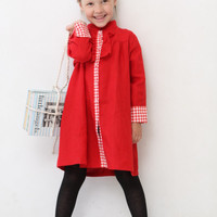 Girls dress Long sleeve Linen dress Toddler girls red dress Girls clothes Autumn dress Full button front dress Back to school