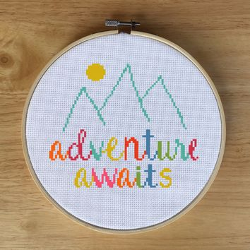 Modern Quote Cross Stitch Pattern - Adventure Awaits